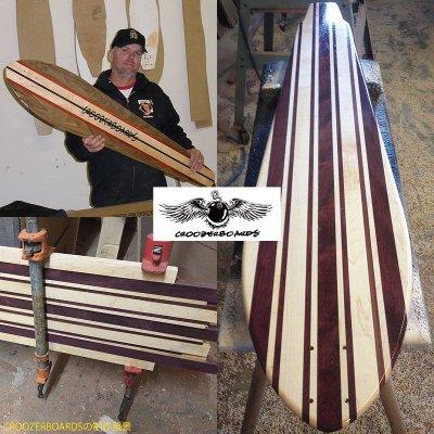 画像2: 22インチ無垢材組木ミニクルーザー・スケートボードデッキ(ハンドメイド・アメリカ製)C