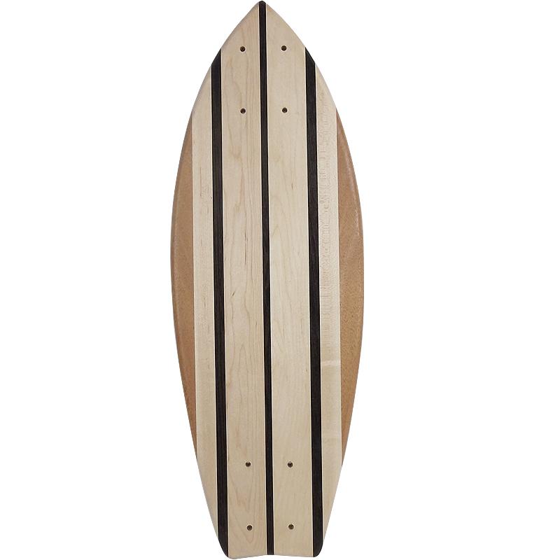 画像1: 22インチ無垢材組木ミニクルーザー・スケートボードデッキ(ハンドメイド・アメリカ製)C (1)